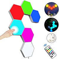 Hexagon Wall Light with Remote Control,Smart Modular Touch-Sensitive LED Light Wall Panels RGB Night Light DIY Geometry…