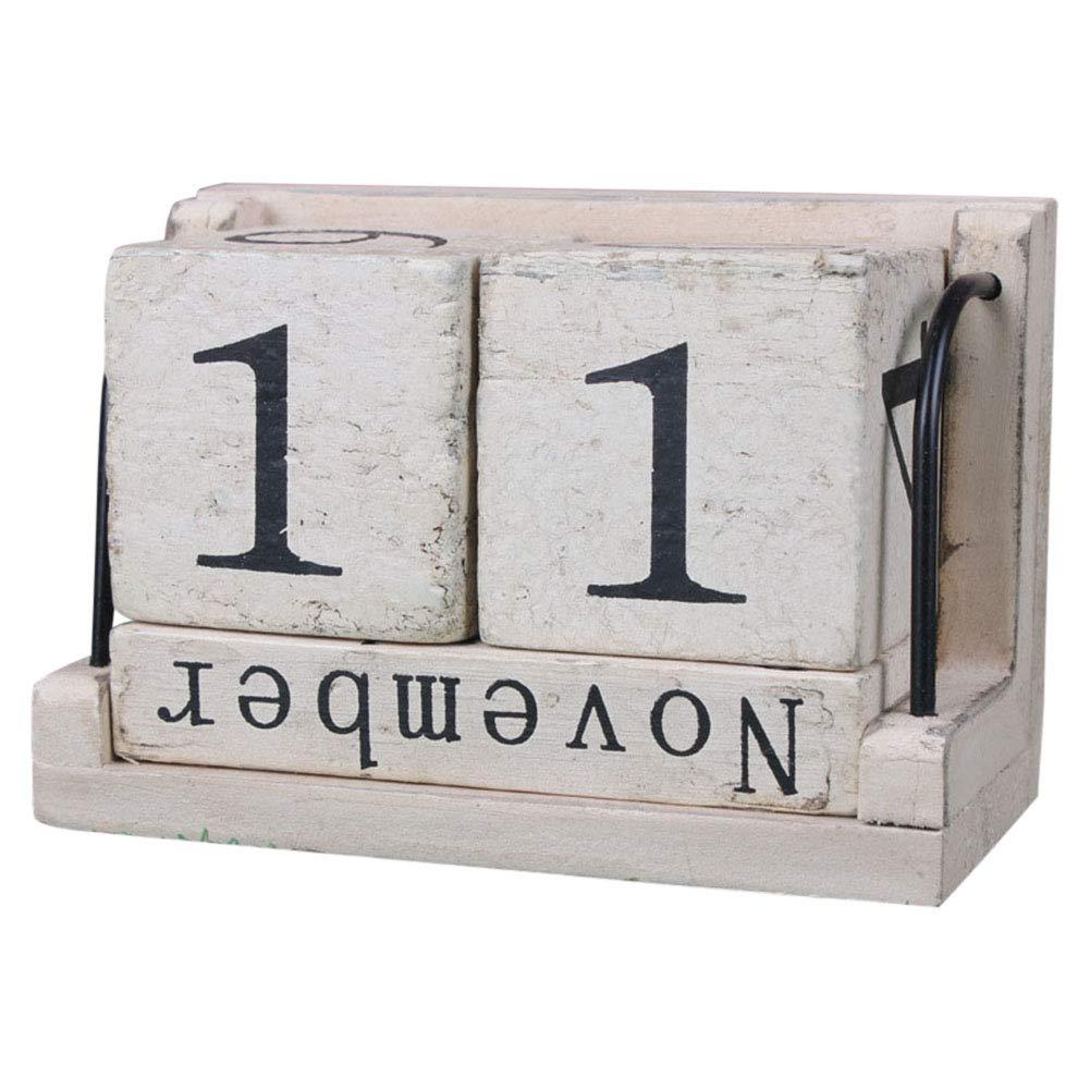 Acutty Vintage Style Perpetual Calendar Wood Block Home Office Desktop Decoration