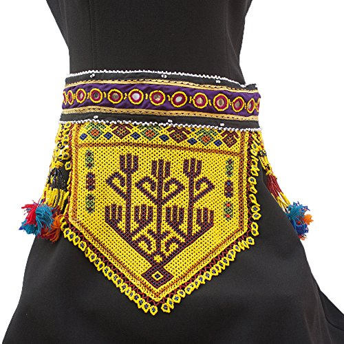 Duel on Jewel Tribal Bohemian Gypsy Embroidered Fabric Afghan Waist Belt with Tiny Pearl Patch Ornaments Metal and Glass Beads -