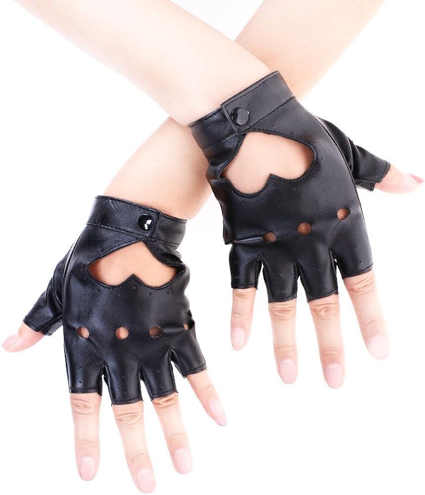 JISEN - Guantes de piel sintética para mujer, diseño de corazón