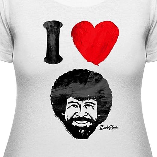 c385dee61 Amazon.com: Teelocity Women's T-Shirt - I Heart Bob Ross: Clothing