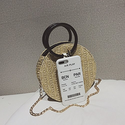 Chain Bag Round Straps Women for UNYU Bag Beach Shoulder woven Girl Female Straw Crossbody With Beige Hand lady Summer Handbags F0wOxv6