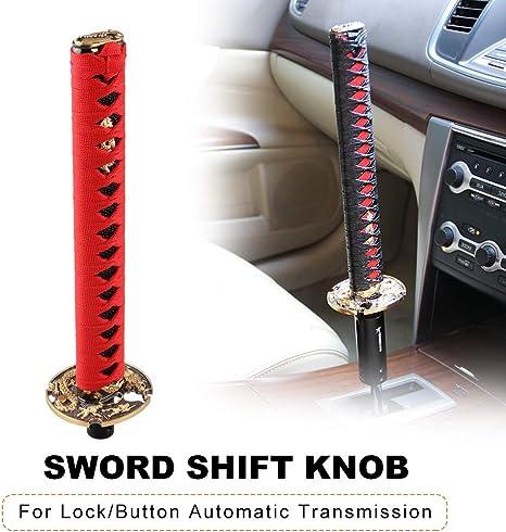 Ryanstar Katana Samurai Schwert Schaltknauf Universal Schalthebel Metall Beschwert Passend Für Die Meisten Autos Rot Und Schwarz Auto