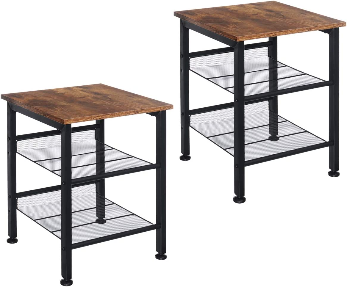 Industrial Nightstand Living Room Table Set