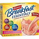 Carnation Breakfast Essentials Strawberry Sensation Complete Nutritional Drink 10 Count 1.26 oz (Pack of 5)