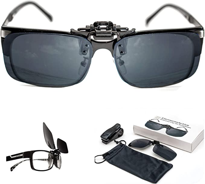 Polarized Flip-Up Sunglasses Clip On Shade Lens Driving Day Night Vision UV400