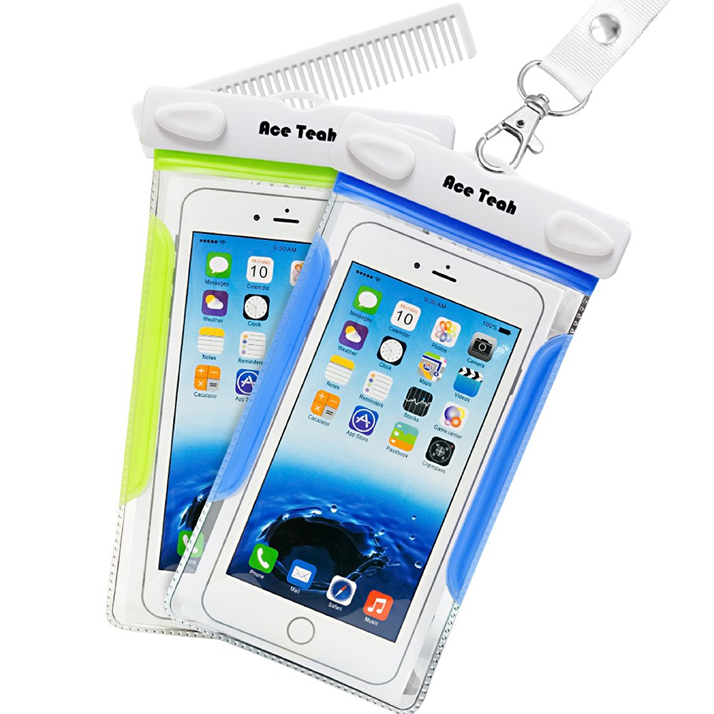 waterproof case 2 pack ace teah clear transparent universal waterproof cell phone case with. Black Bedroom Furniture Sets. Home Design Ideas