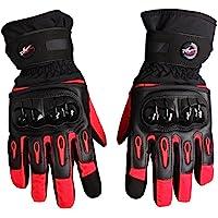 Bonnoeuvre Par Guante de moto Impermeable Guantes Dedo Completo PU Proteccion para Moto Bici Motocicleta Motorista puede pantalla táctil guantes de esquí (XL, Rojo)