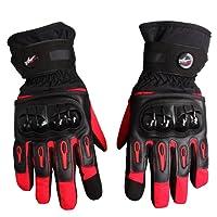 Bonnoeuvre Par Guante de moto Impermeable Guantes Dedo Completo PU Proteccion para Moto Bici Motocicleta Motorista puede pantalla táctil guantes de esquí Talla L (Rojo)