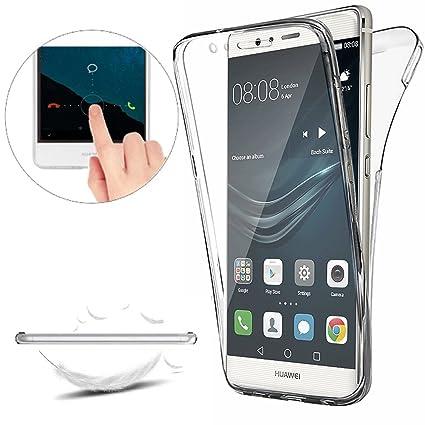 Funda Huawei P9 Lite Carcasas [Cover 360 Grados],Funda Doble Delantera + Trasera Gel Transparente Silicona Integral Shock Absorción Anti Rasguños Anti ...