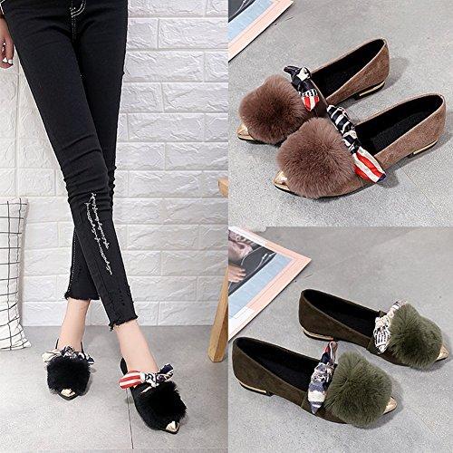 Conjuntos Sexy EUR Calzado Cinta Mujeres Femenina Zapatos Zapatos de Boca de Acentuados 5 Planos 35 marrón Peluda Superficial UxqS7wdU0Z