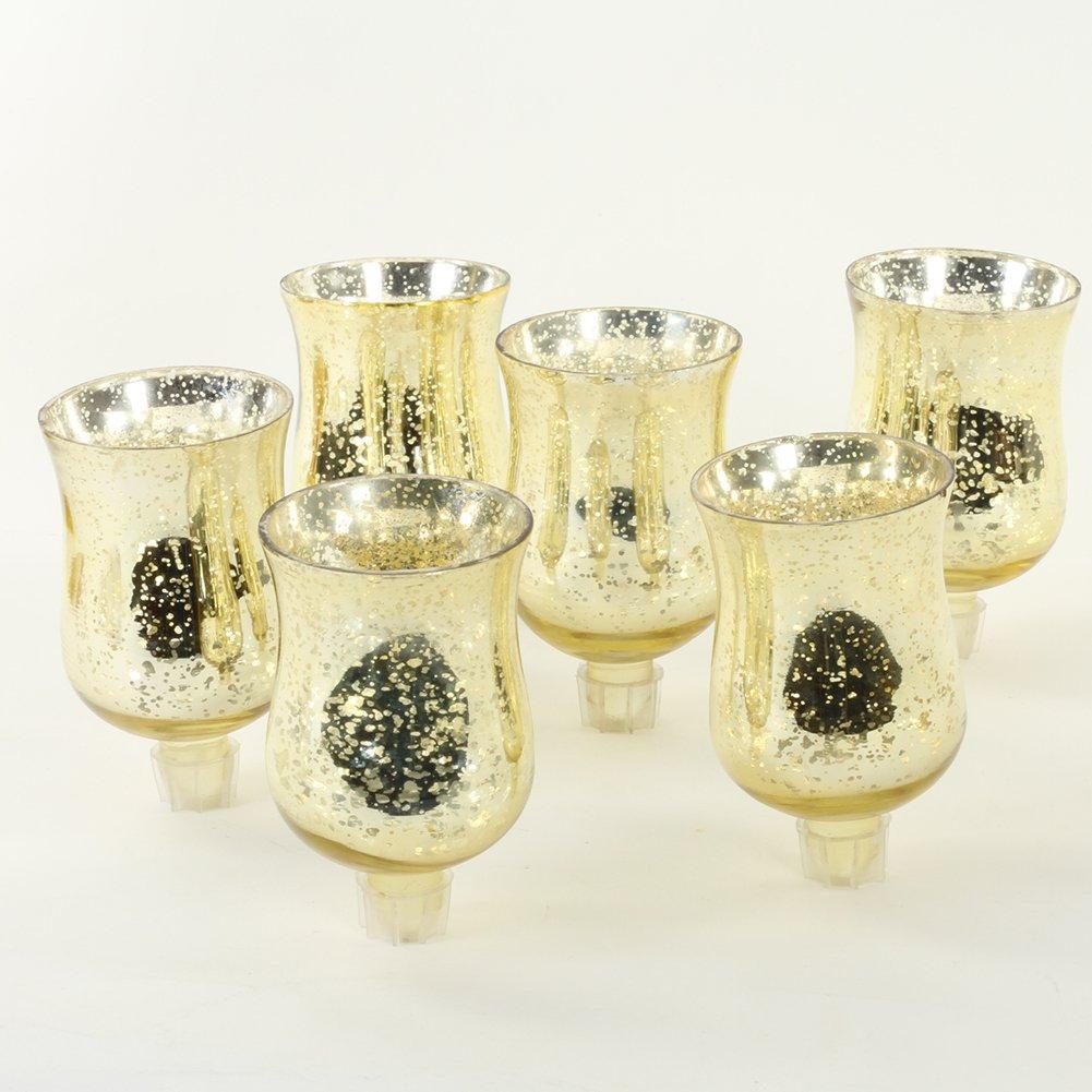 Koyal Wholesale Candelabra Hurricane Glass Shades, Bulk Set of 6 Peg Votive Holders (Antique Gold, 3.5-Inch)