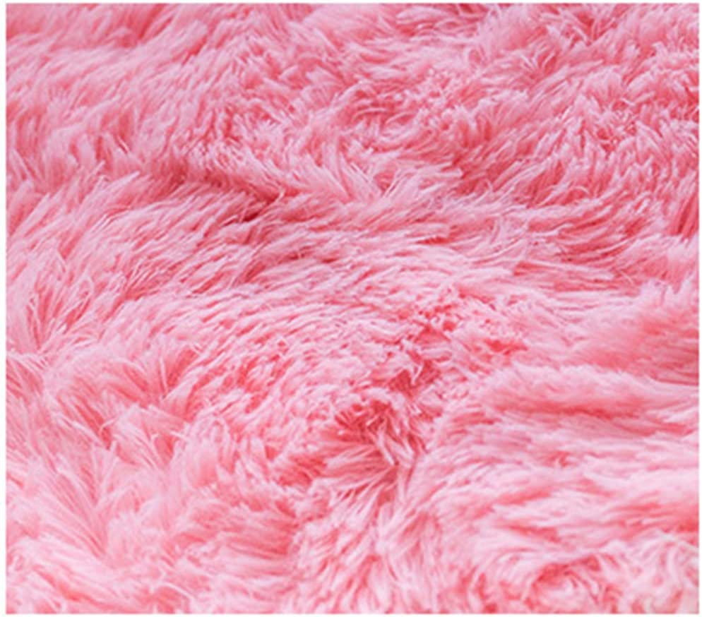 Living Room Splicing Floor Mat Children Crawling Blanket,Super long pile Soft and Comfortable 10 Pieces Foam Long Suede Splicing Carpet Very Suitable for Childrens Room,Pink