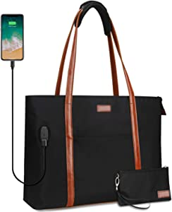 Laptop Tote Bag for Women Teacher Work Office USB Bags Fits 15.6 inches Laptop Lightweight Water Resistant Nylon Tote Bag (Black and Brown Strap)