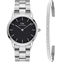 Daniel Wellington Iconic Link 36mm Silver Black & Classic Bracelet. Watch Gift Set.