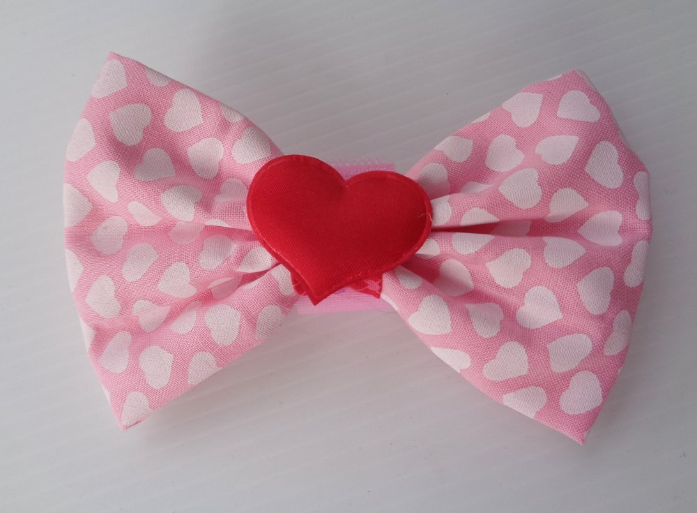 Hearts Lover Fabric Bow with Wrap and Loop Around the Collar Dog Bow Pet Neckwear