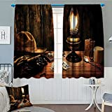 Western Decor Home Decoration Thermal Insulated Mystic Night in Hotel Room Dallas with Lantern Nightstand Table and Poker Card Blackout Draperies For Bedroom 72''x63'' Brown