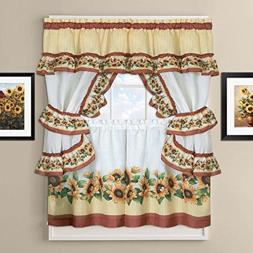 5 Piece Cottage Kitchen Curtain - Sweet Home Collection Treatment Kitchen Curtain Window Panel Set (5 Piece), 36