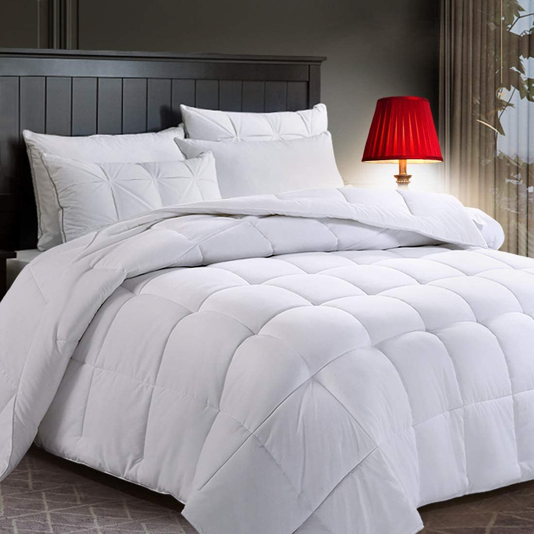 COTTONHOUSE King Size Cooling Comforter Fluffy Reversible Quilted Duvet Insert Down Alternative Fill with Corner Tabs All Season - Machine Washable -White
