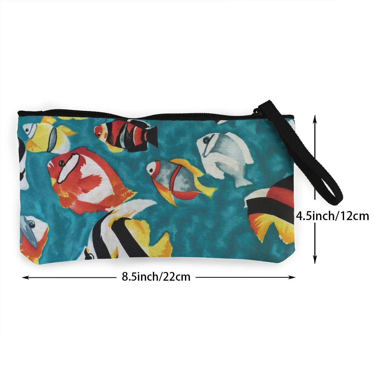Cellphone Bag With Handle Make Up Bag TR7FD15DE Colorful Tropical Fish Zipper Canvas Coin Purse Wallet