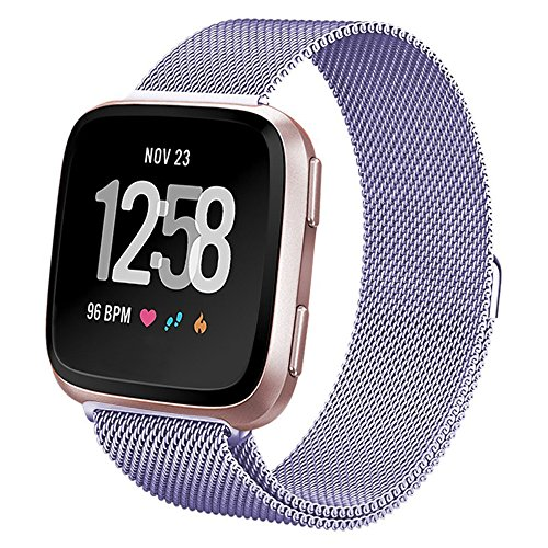 hooroor for Fitbit Versa Bands Women Men Small Large, Milanese Loop Stainless Steel Metal Sport Replacement Bracelet Strap with Magnet Lock Wristbands for Fitbit Versa Smart Watch (Lavender, Small)