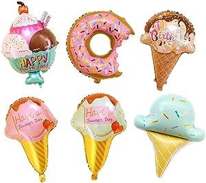 Kawaii Ice Cream Doughnut Food Balloon Kids Party Decor Balloons Pack of 6