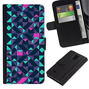 Billetera de Cuero Caso Titular de la tarjeta Carcasa Funda para Samsung Galaxy Note 4 SM-N910 / Teal Pink Futurist Purple / STRONG