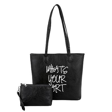 deaee4e9931b Women PU Letters Shoulder Shopping Handbags Totes Clutch Wristlets (Black)