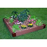 Frame It All One Inch Series Composite Raised Garden Resin and Plastic Bed Kit, 4-inch x 4-inch x 5.5-inch, Brown by Vegherb
