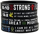 ''Power of Faith'' Bible Verse Wristbands - Set of 4 Silicone Bracelets with Christian Symbols and Scriptures - Religious Jewelry Gifts for Men Women Teens