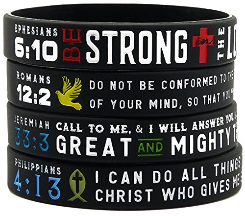 - Ezekiel Gift Co. Power of Faith Bible Verse Wristbands - Set of 4 Silicone Bracelets with Christian Symbols and Scriptures - Religious Jewelry Gifts for Men Women Teens