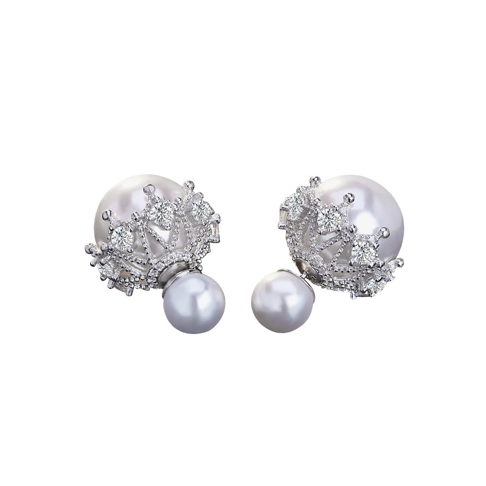 0f164304d Material: Made of alloy and pearl, rhinestones, Shiny Round Cubic Zirconia  Inlaid. This pair of earrings is a fashionable jewelry with economic price,  ...