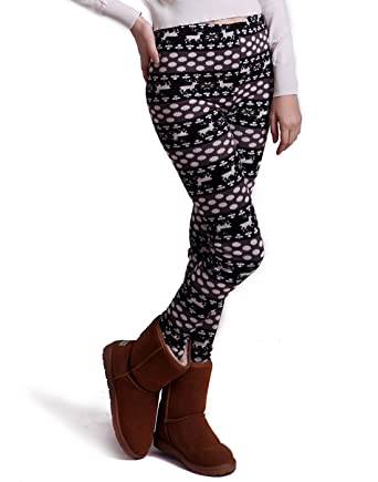 39fa233b0d9d3 HDE Women Winter Knit Leggings Fleece Line Nordic Design Thermal Insulated  Pants (Black White Dots and Reindeer, Large): Amazon.co.uk: Clothing