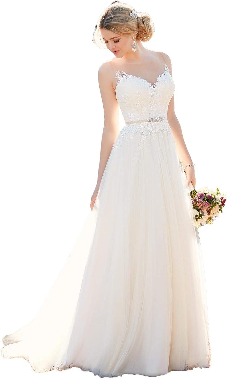 Nanger Damen A Linie Spitze Hochzeitskleider Standesamt Tüll Brautkleider  Jahrgang Lang