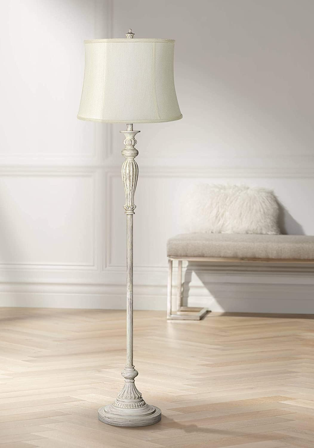 Traditional Vintage Shabby Chic Standing Floor Lamp Antique White Burgundy Creme Fabric Drum Shade Decor For Living Room Reading House Bedroom Home Office 360 Lighting