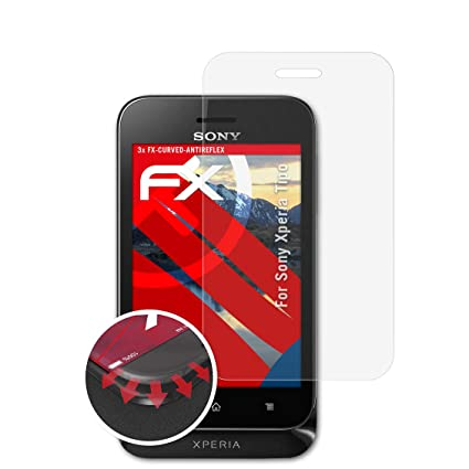 atFolix Schutzfolie passend für Sony Xperia Tipo Folie, entspiegelnde und Flexible FX Displayschutzfolie (3X)