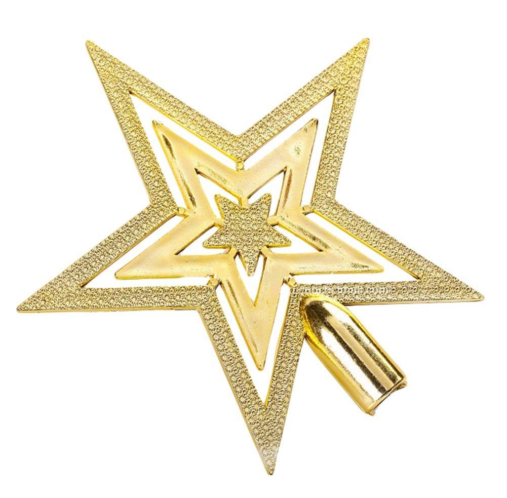 Da.Wa 20cm Gold Star Christmas Tree Decoration Christmas Tree Topper Christmas Tree Decoration,Small