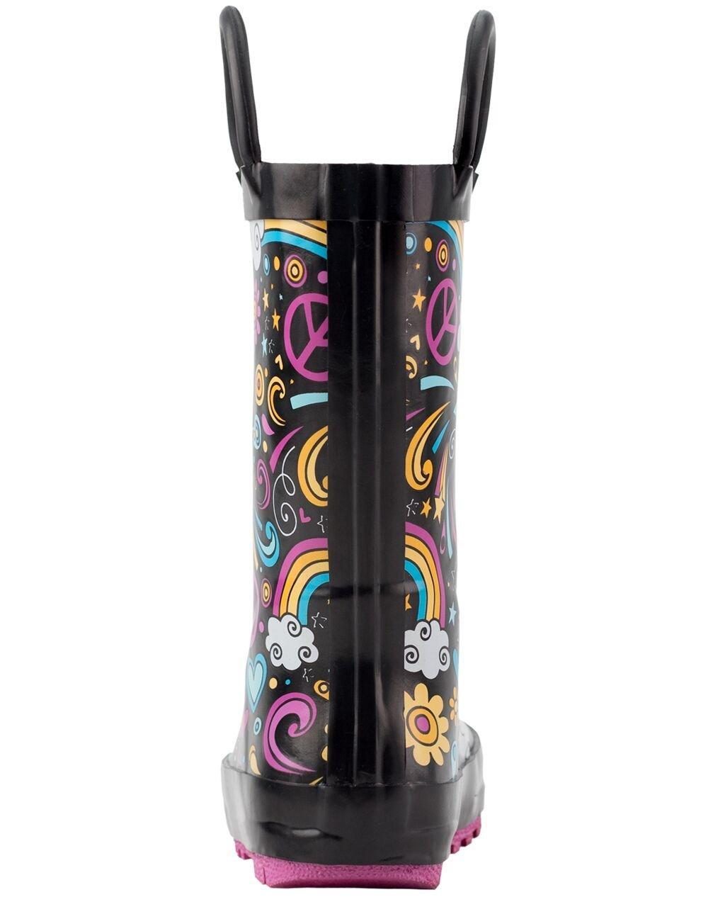 Oakiwear Kids Rubber Rain Boots with Easy-On Handles, Peace, Love & Rainbows, 11T US Toddler, Peace by Oakiwear (Image #5)