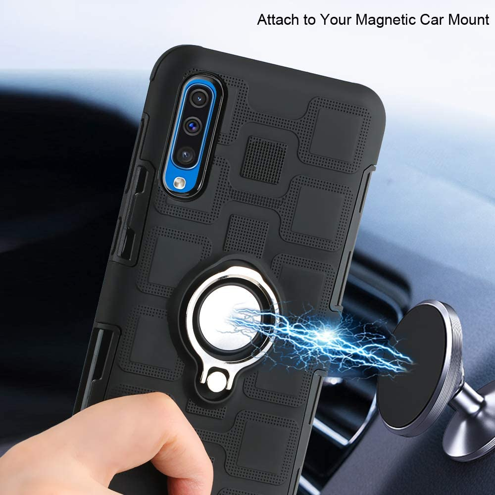 Urspasol for Samsung Galaxy A70 Case with Galaxy A70s Screen Protector Tempered Glass Hybrid Heavy Duty Cover Armor Dual Layer Protection with Ring Holder Kickstand Magnetic Car Mount Black