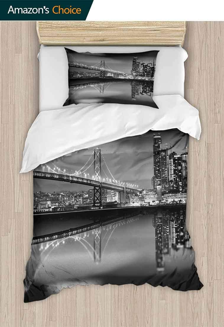 Temox Black and White Cotton Bedding Sets, San Francisco Bay Bridge Metropolis Panorama View with Skyscrapers, Kids Bedding-Does Not Shrink or Wrinkle,79 W x 90 L Inches, Black Grey White