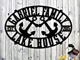 Lake House Sign - Personalized Custom Metal Lake House Sign - Steel Sign - Large Sign (30w x 20h)