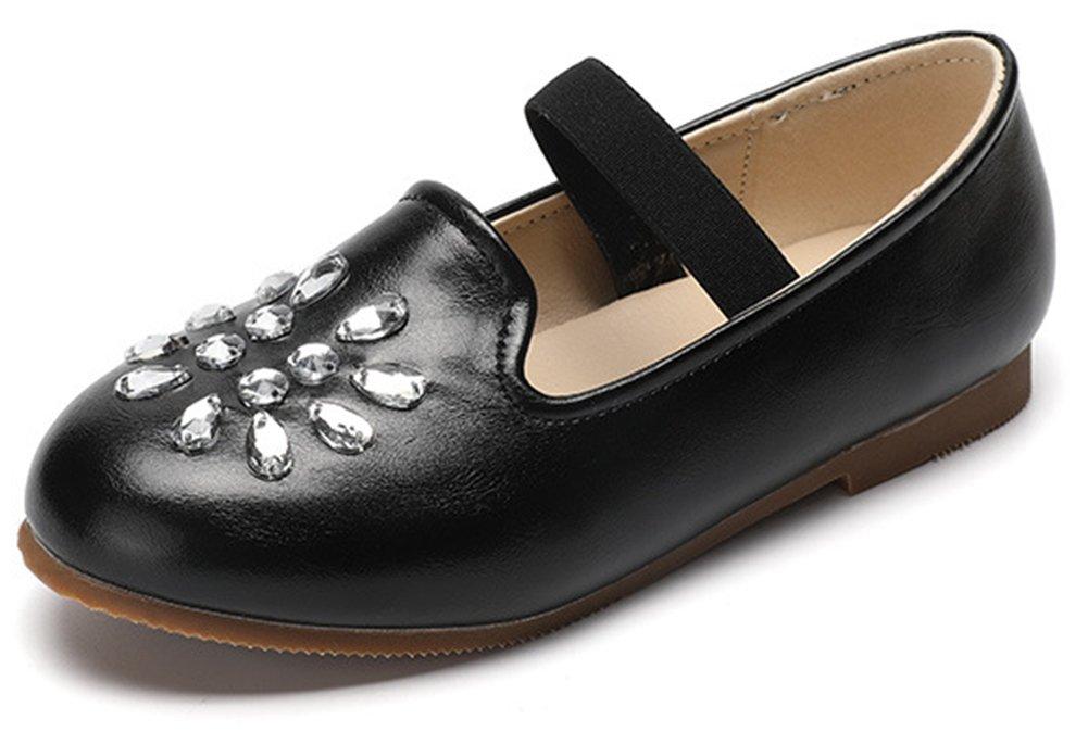 InStar Girls' Casual Rhinestone Round Toe Elastic Slip on Flats Shoes Black 5.5 M US Big Kid