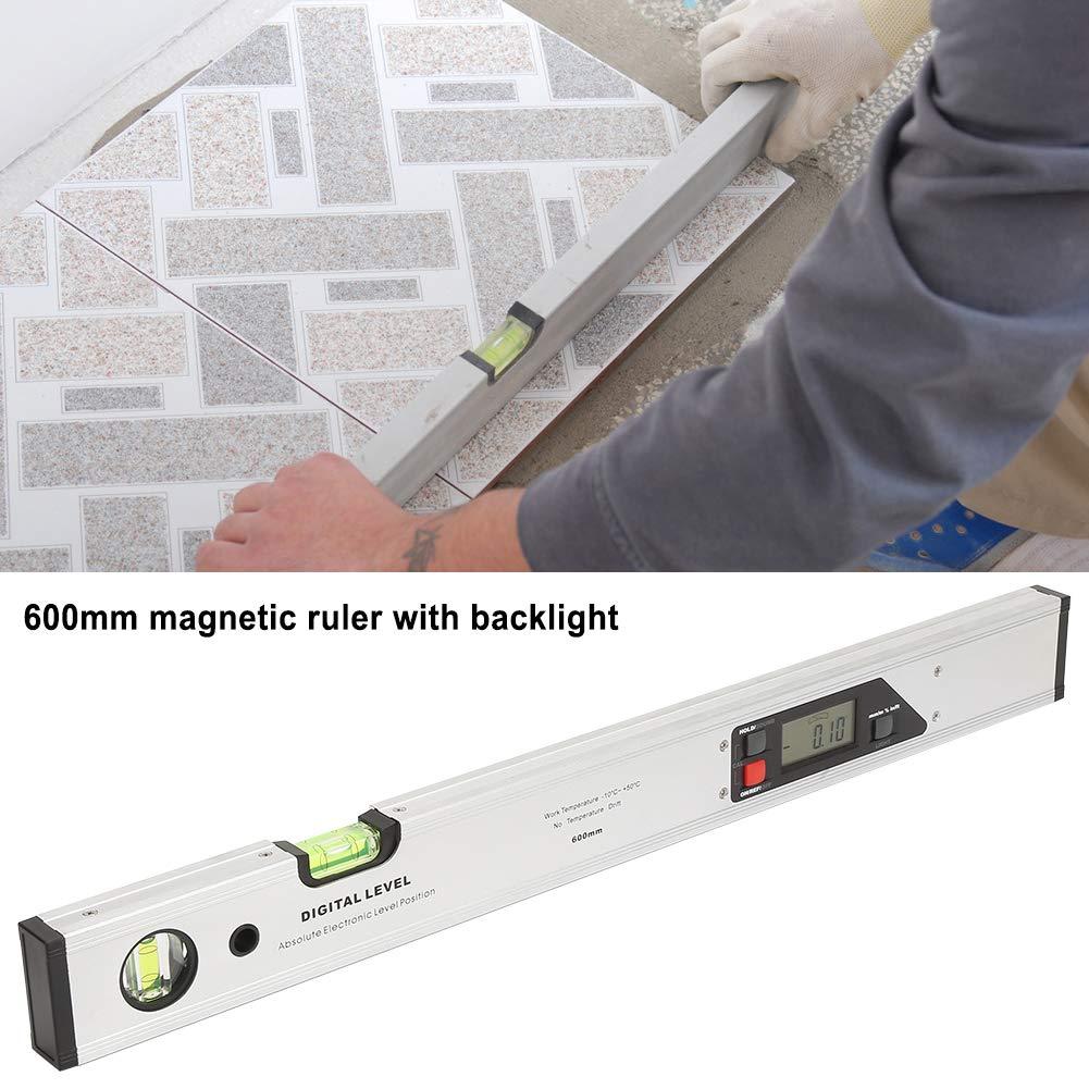 righello in lega di alluminio da 600 mm Angolo di rilevamento digitale magnetico Angolo inclinometro Righello con livella a bolla Righello di livello