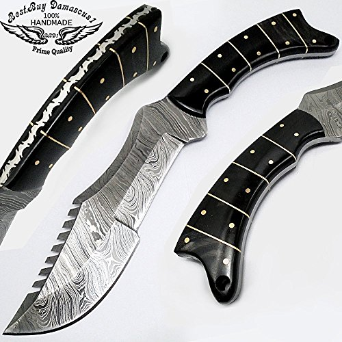 Beautiful Buffalo Horn 11. Bowie Tracker Fixed Blade Custom Handmade Damascus Steel Hunting Knife 100% Prime Quality
