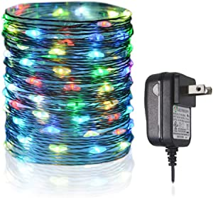 HAHOME Blinking Fairy String Lights,33Ft 100 LEDs Indoor and Outdoor Starry Lights with Power Adapter for Christmas Halloween Wedding and Party Decoration,Multicolor