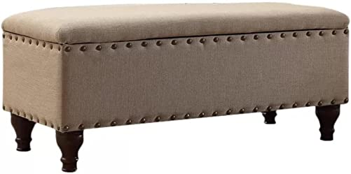 Lattimer Upholstered Storage Bench, Upholster Bench with Storage Tan