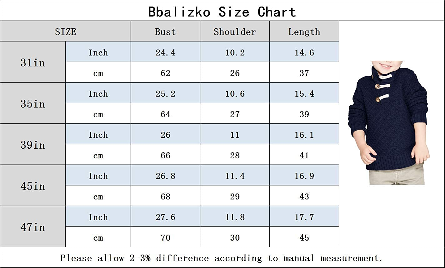 Bbalizko Baby Boys Cable Knit Turtleneck Sweater Pullover Kids Button Down Long Sleeve Casual Sweatshirt 6M-6T