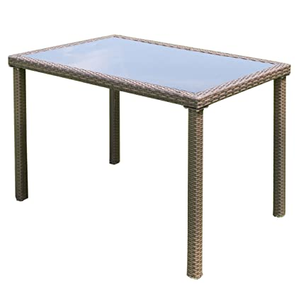 Amazon tangkula wicker table outdoor patio balcony pool garden tangkula wicker table outdoor patio balcony pool garden tempered glass top and metal frame accent side watchthetrailerfo