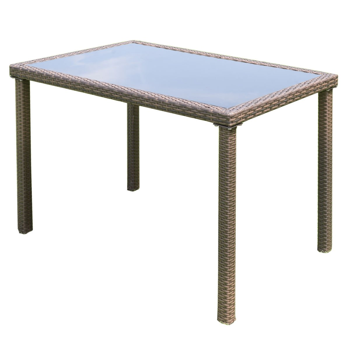 TANGKULA Wicker Table Outdoor Patio Balcony Pool Garden Tempered Glass Top and Metal Frame Accent Side Table Patio Dining Table Coffee Tea Table (rectangle) by TANGKULA