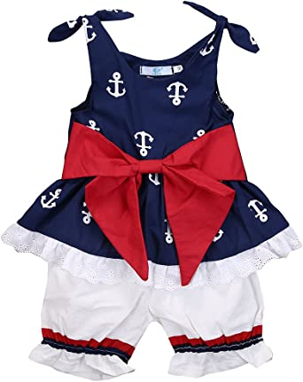 Infant Baby Kids Girl T-Shirt Vest Tops+Shorts Pants 2PCS Casual Outfit Clothes
